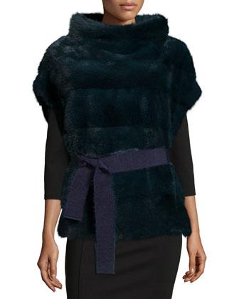 Belted Mink Fur Pullover Vest, Green Moss