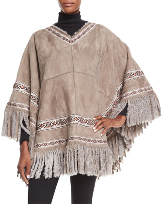 Shearling Fur Poncho W/Embroidered Ribbon Trim, Stone