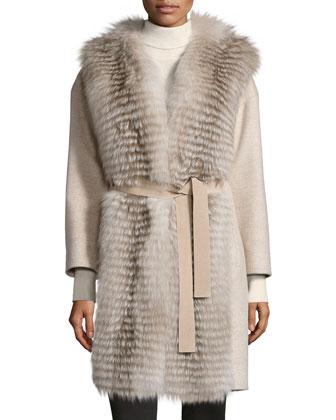 Cashmere Stroller Coat W/Fur Trim, Ivory/Amber