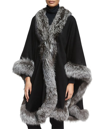 Cashmere Maxi-Cape W/Fox Fur Trim, Black
