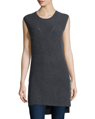 Shaker-Stitch Long Cashmere Vest