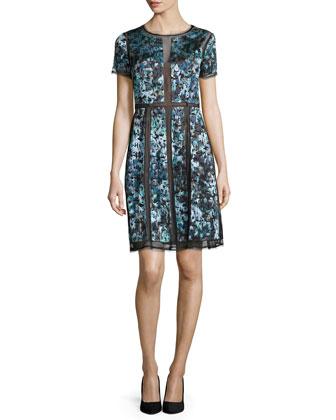 Adalina Short-Sleeve Dress, Dark Teal Combo