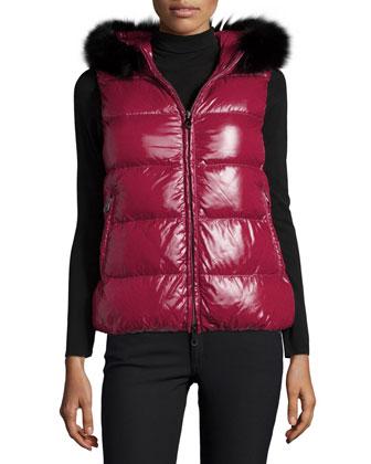 Goccia Fur-Trim Hooded Puffer Vest