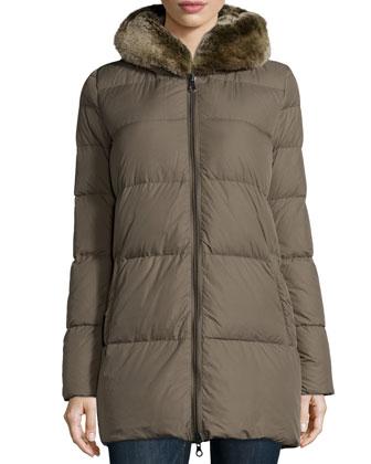 Arwen Puffer Jacket with Fur Hood