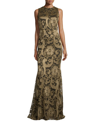 Roxie Floral-Lace Diamond-Back Gown, Bronze
