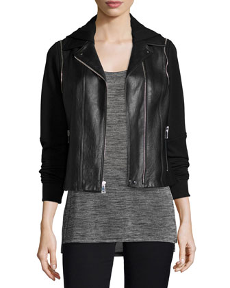 Mixed Media Hooded Moto Jacket, Black
