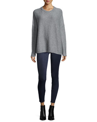 Textured Wool/Cashmere Crewneck Sweater
