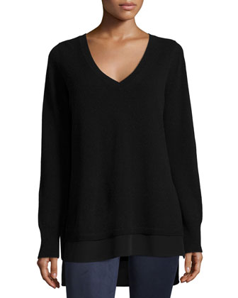 Mixed-Media Layered V-Neck Sweater