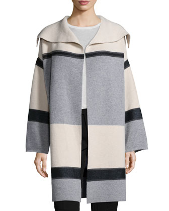 Colorblock Wool/Cashmere Car Coat, Ribbed Sleeveless Turtleneck Sweater & ...