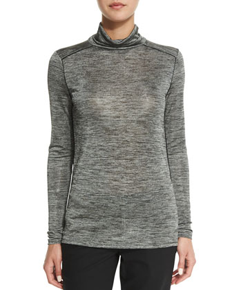 Slim-Fit Heathered Turtleneck Shirt
