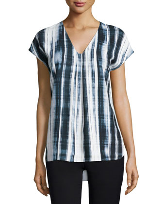 Brushstroke-Plaid Popover Blouse