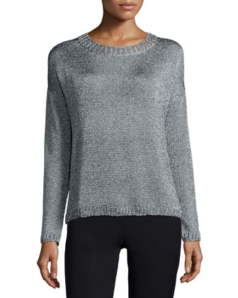 Textured Crewneck Sweater, Silver