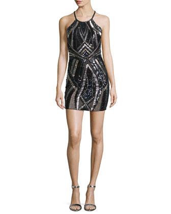 Jaden Embellished Mini Dress, Black