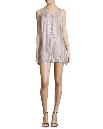 Bryant Sleeveless Mini Dress W/Fringe, Dusk