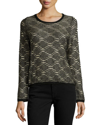 Bellerose Long-Sleeve Metallic Sweater, Black