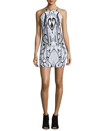 Jaden Scroll-Print Mini Dress, White