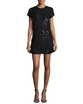 Topaz Short-Sleeve Embellished Dress, Petrol