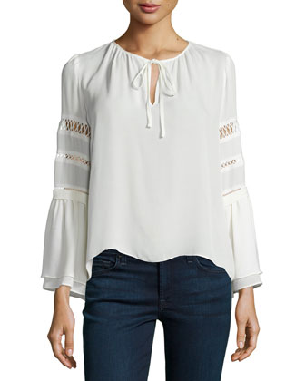 Hadley Sheer-Inset Blouse, Ivory