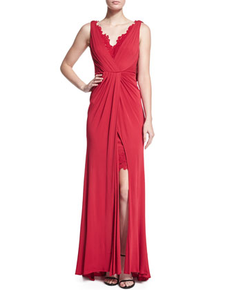 Sleeveless Lace-Inset Gown, Poppy