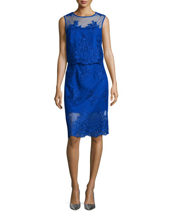 Embroidered Two-Piece Cocktail Dress, Cobalt