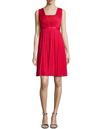 Sleeveless Plisse Lace-Inset Dress, Poppy