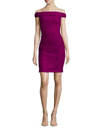 Off-The-Shoulder Cocktail Dress, Framboise