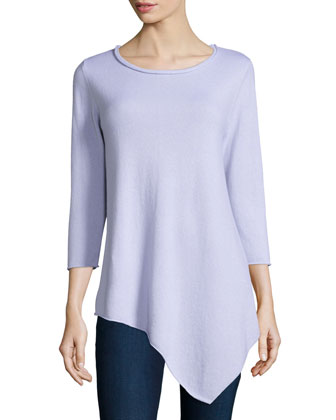 Long-Sleeve Asymmetric Cashmere Top