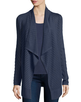 Stripe-Stitch Draped Cardigan