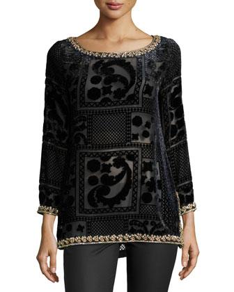 Mianette Embellished Shirt, Black