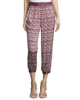 Prisca Printed Jogger Pants, Dark Garnet