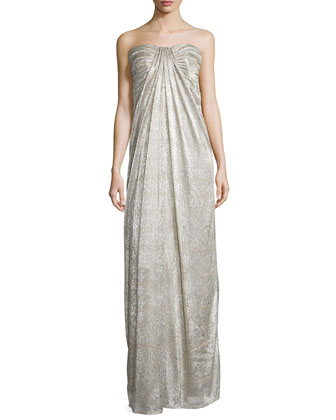 Strapless Shirred Metallic Gown, Nude