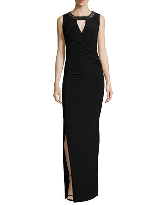 Sleeveless Embellished Jersey Gown, Black