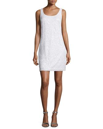 Sleeveless Embellished Novelty Dress, Optic White