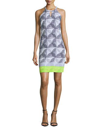Sleeveless Printed Sheath Dress, Lime Punch Multi