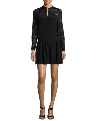 Long-Sleeve Paisley-Lace-Trim Silk Dress, Black