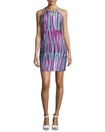 Sleeveless Printed Sheath Dress, Shocking Pink Multi