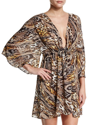 Sahara Animal-Print Beach Dress Coverup