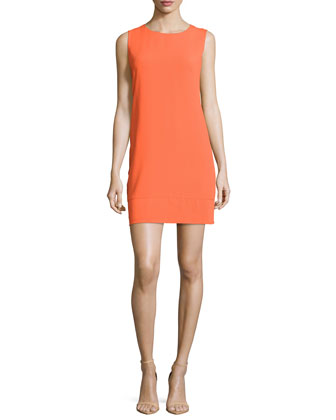 Sleeveless Sheath Dress W/Cutout Back, Pop Orange