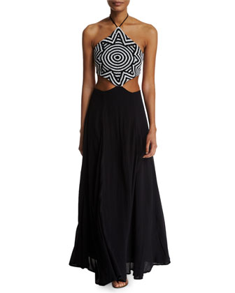 Starbasket Printed Cutout Dress