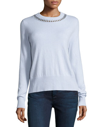 Chain-Detailed Crewneck Cashmere Sweater