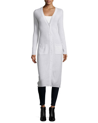 Long-Sleeve Button-Front Maxi Cashmere Cardigan