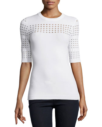 Half-Sleeve Sweater with Perforated Detail