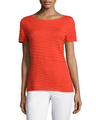 Short-Sleeve Pintuck-Stripe Sweater, Dayglow
