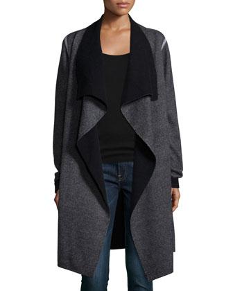 Draped Long Wool/Cashmere Cardigan