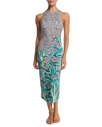 Aloe Printed Midi Coverup Dress, Green