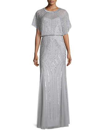 Beaded Flutter-Sleeve Chiffon Gown, Silver