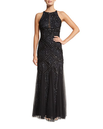 Halter Beaded Godet Gown