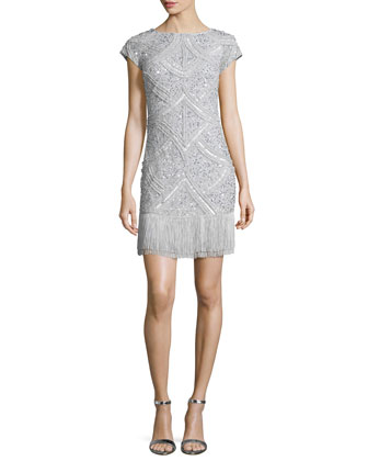 Cap-Sleeve Sequined Cocktail Dress W/ Fringed-Hem