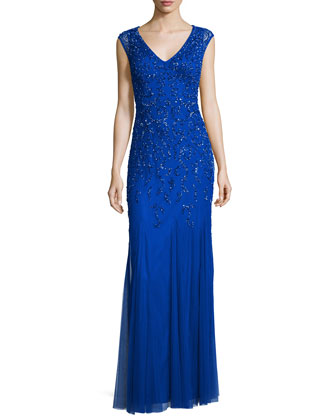 Cap-Sleeve V-Neck Beaded Gown