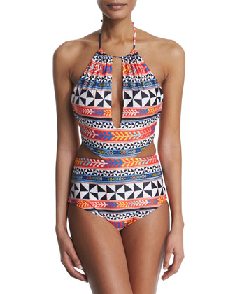 Pinwheel Printed Cutout One-Piece Swimsuit